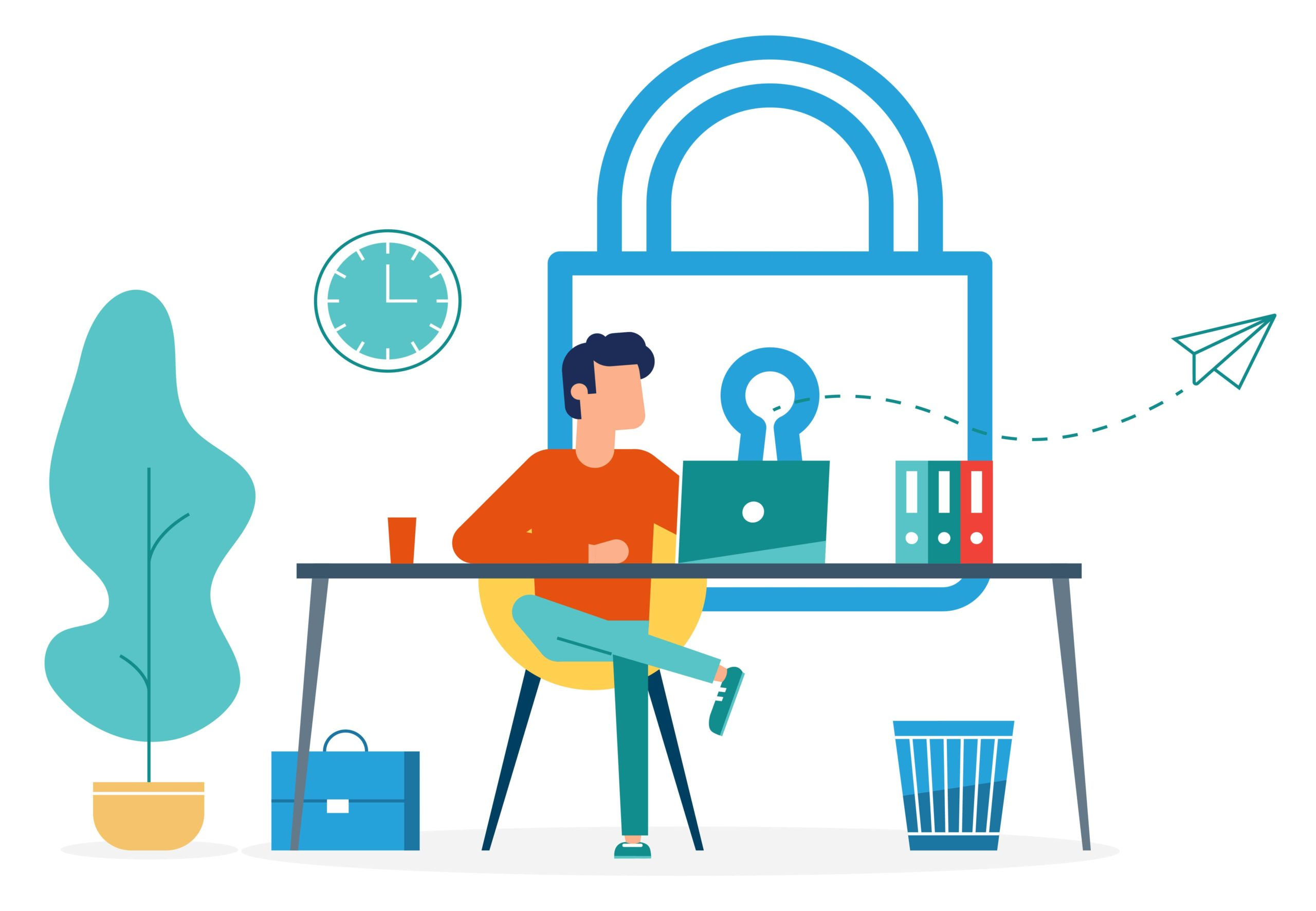graphic of a person sitting at a desk doing research about cybersecurity trends